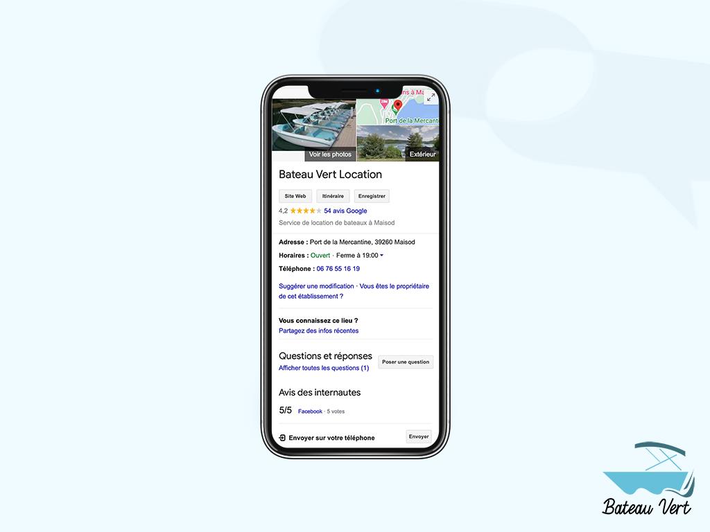 Mock up Fiche Google Bateau vert location - accompagnement à la création d'entreprise